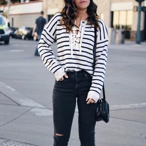 •Madewell• Stripe Lace Up Sweater